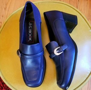 VTG J.G. Hook Navy Blue Heeled Buckled Loafers